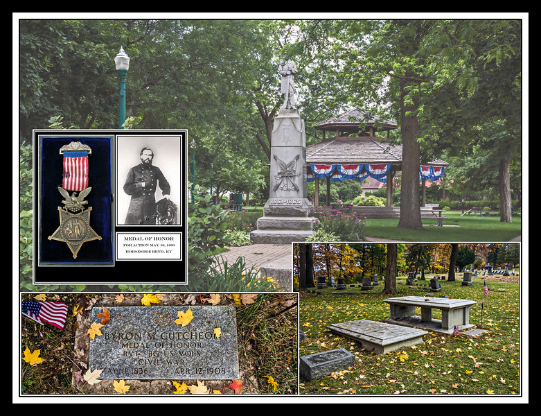 "A Hero's Grave - in honor of all veterans who served and sacrificed in all the wars our country has engaged in.<br /> <br /> DP315-2013  Posted November 11, Veterans Day; created ditto.<br /> <br /> Shown here, against a background of a typical small town Civil War Veterans monument, are the grave markers of a Civil War Medal of Honor awardee, Byron M. Cutcheon, a Medal of Honor dating from the time Cutcheon's medal was awarded (1891), a photo of Cutcheon in his uniform, and text giving the date and location of the action for which the medal was awarded.<br /> <br /> Soldiers who fought on both sides of the Civil War believed they were fighting to preserve certain freedoms...it was just different freedoms that the two sides focussed on.  The Medal of Honor was first awarded by Congress in 1861, for actions during the Civil War.  It's design has changed over the years, but what has not changed is that it recognizes 'extraordinary heroism', action above and beyond the call of duty.<br /> <br /> Byron M. Cutcheon was only 25 in 1861 when he resigned his post as Principal and professor of multiple subjects for Ypsilanti High School in order to raise a company of volunteers for the Twentieth Regiment, Michigan Infantry.  His life to that point had already been remarkable, where, as an orphan who had largely only himself to depend on, he nonetheless managed to complete a degree at the University of Michigan and pursue a promising career in the field of education.  The sheer volume of action he saw during the Civil War is astonishing.  Here is a list of the actions he participated in, taken from Wikipedia:  <br /> <br /> ""During his service in the American Civil War he was in the battles of Fredericksburg, Virginia; Horseshoe Bend, Kentucky; the Siege of Vicksburg, Mississippi; the Assault on Jackson, Mississippi; the battles of Blue Springs, Tennessee; London, Tennessee; Campbell's Station, Tennessee; the Siege of Knoxville, Tennessee; the Assault on Fort Saunders, at Knoxville; Thurley's Ford, Tennessee; Strawberry Plains, Tennessee; Chuckey Bend; Wilderness (for actions during which he would later be awarded the Medal of Honor); Ny River; Spottsylvania Court House (in which he was wounded, while leading a charge of the Twentieth Michigan and Fifty-first Pennsylvania). He remained at the hospital about two months. For gallant conduct on this occasion he received a commission as brevet colonel. He was next in the Siege of Petersburg, July, 1864, the Weldon Railroad, Reams Station, Virginia; Poplar Spring Church, Virginia; Boydton Plank Road, Hatcher's Run, and the siege of Petersburg, from November 1864, to March 1865.<br /> <br /> On October 16, 1864, he was assigned the command of the Second Brigade, Fifteenth Division Ninth Army Corps, and remained in command of that brigade until March 6, 1865, when he resigned on account of sickness in his family. He was brevetted brigadier general of U.S. Volunteers, March 13, 1865, for conspicuous gallantry on the field of battle.""<br /> <br /> There is at least one inaccuracy in the Wikipedia information.  Other sources consistently give the action at Horseshoe Bend, Ky, and not the Battle of the Wilderness (Va.) as the one for which Cutcheon eventually received the Medal of Honor.<br /> <br /> Cutcheon's career continued its upward trend after the war.  He must have been a truly outstanding person.  I happened upon his grave (along with that for his wife and only daughter) quite by accident a few days ago.  They lie in a secluded part of Highland Cemetery, Ypsilanti, and I was struck by the fact that he had won a Medal of Honor.  I thought that sharing a little of his story would be appropriate for Veterans Day."